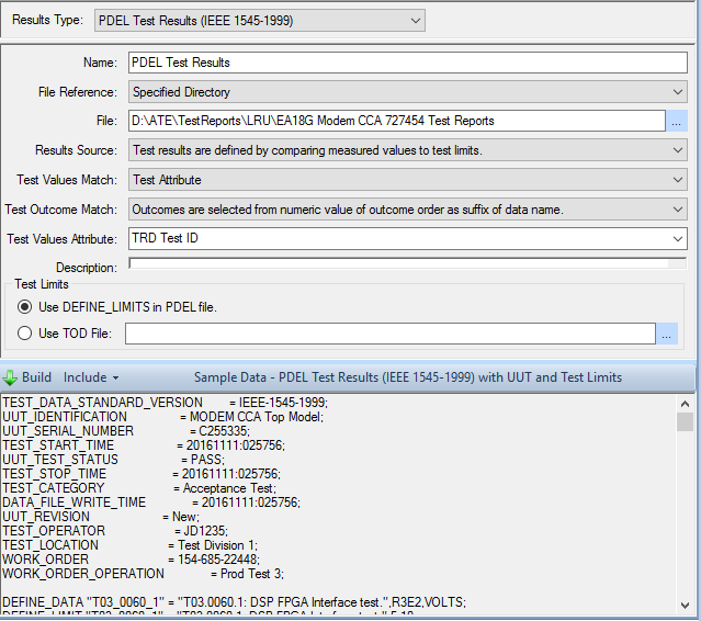 Test results configuration for PDL format showing sample data